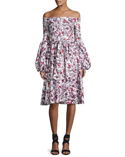 Gisele Tea-Length Toile Dress, Red Pattern