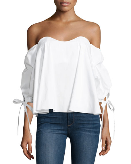 Gabriella Off-The-Shoulder Bustier Top, White