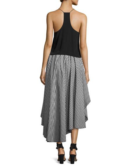 Adelle Cotton Gingham Skirt, Black/White