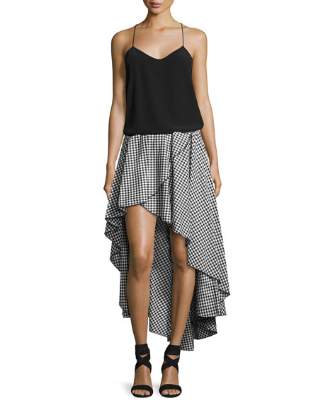 Caroline Constas Adelle Cotton Gingham Skirt, Black/White