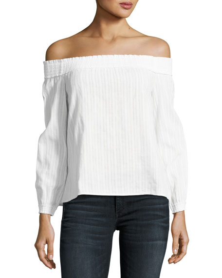 rag & bone/JEAN Drew Off-the-Shoulder Top, White