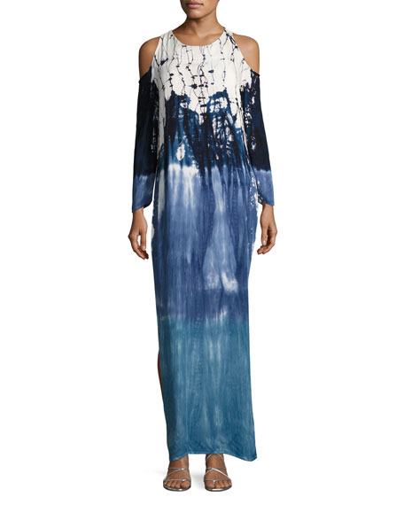Mischa Tie-Dye Cold-Shoulder Maxi Dress, Blue