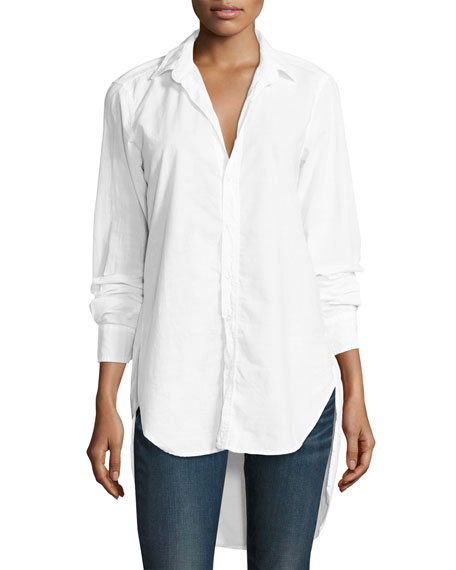 Frank & Eileen Grayson High-Low Button-Down Shirt, White