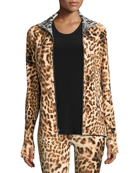 Norma Kamali Reversible Zip-Front Active Turtle Jacket, Leopard