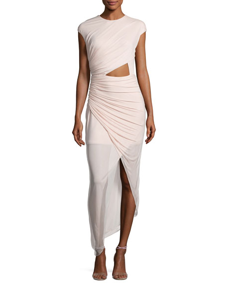 Halston Heritage Cap-Sleeve Ruched Jersey Cocktail Dress,