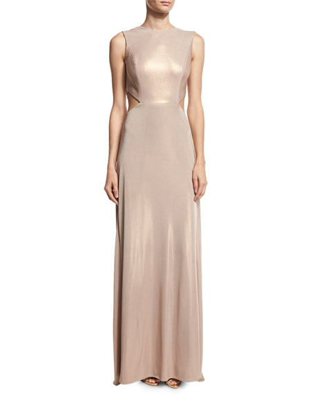 Halston Heritage Sleeveless Twist-Back Metallic Jersey Column