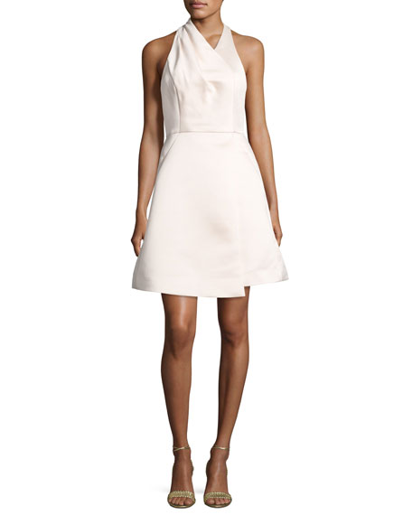Halston Heritage Satin Halter Cocktail Dress, Primrose Pink