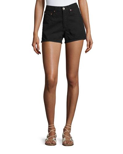 Justine High-Rise Denim Shorts, Black