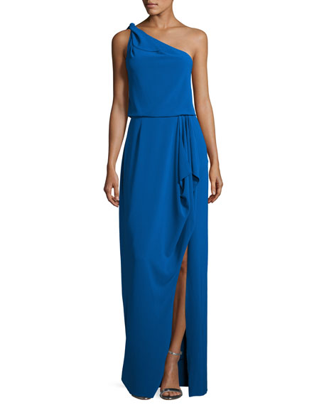 Halston Heritage EXCL One Shldr Crepe Gown w