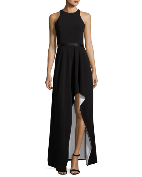 Halston Heritage Colorblock Racerback High-Low Gown, Black/White