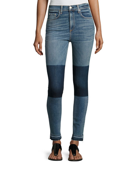 rag & bone/JEAN Dive High-Rise Colorblock Capri Jeans,