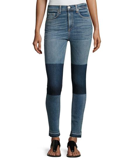 rag & bone/JEAN Dive High-Rise Colorblock Capri Jeans,