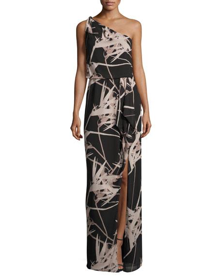 Halston Heritage One-Shoulder Floral Chiffon Gown, Black