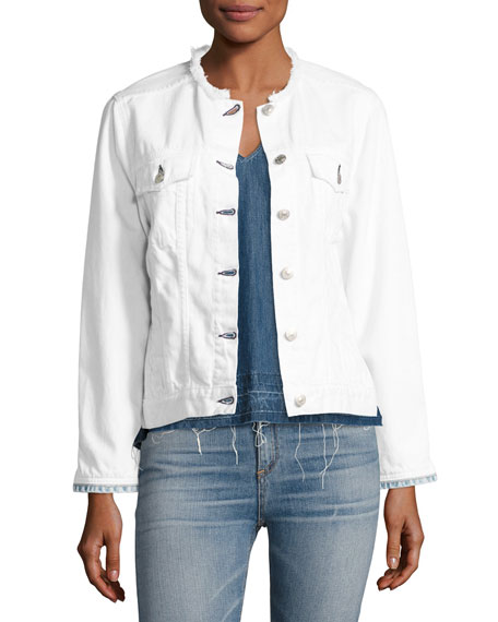 Collarless Jean Jacket, White