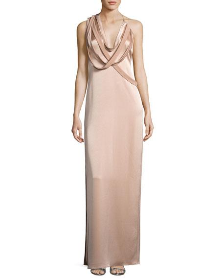 Halston Heritage Strappy Satin Slip Gown, Cream Beige