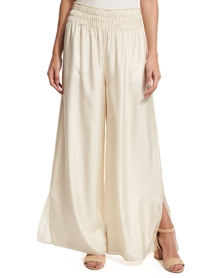 Elizabeth and James Elton Wide-Leg Stretch Satin Pants, Cream