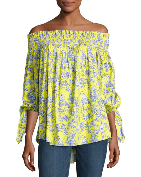 Caroline Constas Lou Multi-Print Top, Yellow Pattern