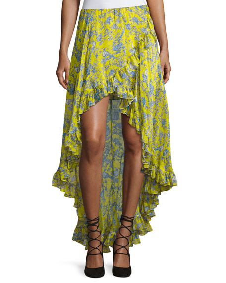 caroline constas adelle layered ruffle high low skirt yellow