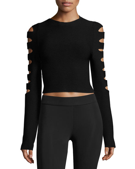 Anastasia Ribbed Cutout Long-Sleeve Crop Top, Black