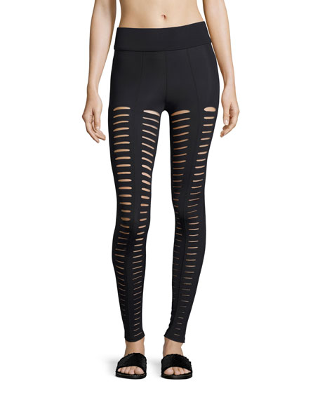 Cushnie Et Ochs Artemis Lattice Leggings, Black