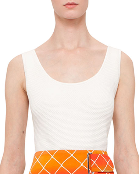 Akris punto Honeycomb-Knit Scoop-Neck Tank Top, Cream