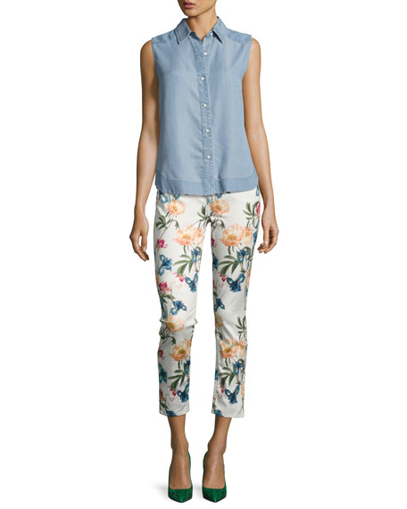 Terrace Garden Floral-Print Cropped Skinny Jeans, Multi