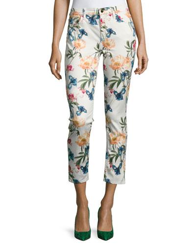 Terrace Garden Floral-Print Cropped Skinny Jeans, Multi