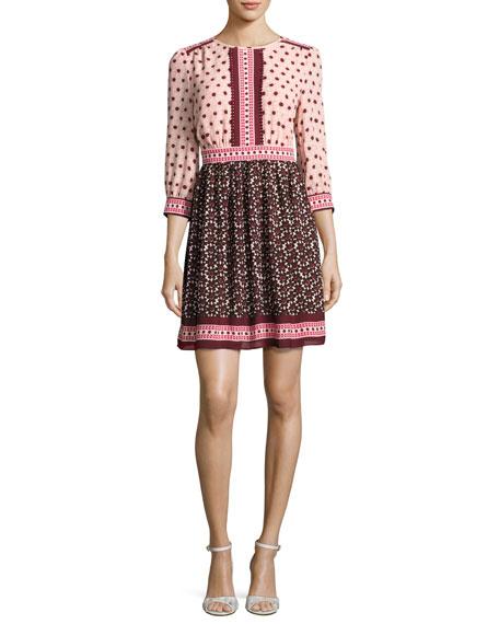 3/4-sleeve smocked floral tile dress, multicolor