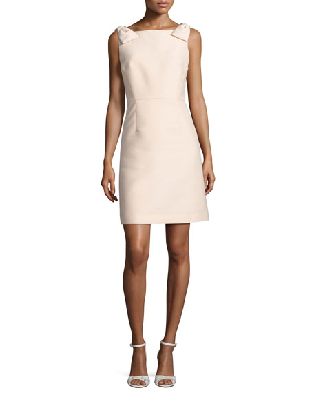 sleeveless structured a-line cocktail dress, pale pink