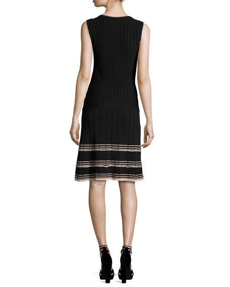 Sleeveless Ribbed V-Neck Dress, Black