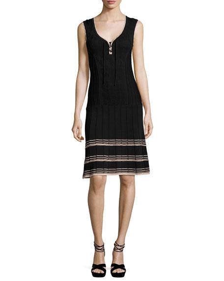 Nanette Lepore Sleeveless Ribbed V-Neck Dress, Black
