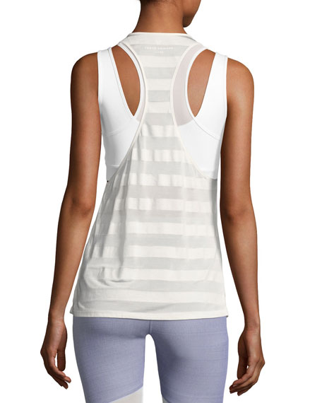 Striped Racerback Athletic Tank Top, White Pattern