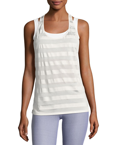 Heroine Sport Striped Racerback Athletic Tank Top, White Pattern