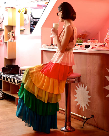 Image 2 of 4: Luba Sleeveless Tiered Chiffon Gown, Multicolor