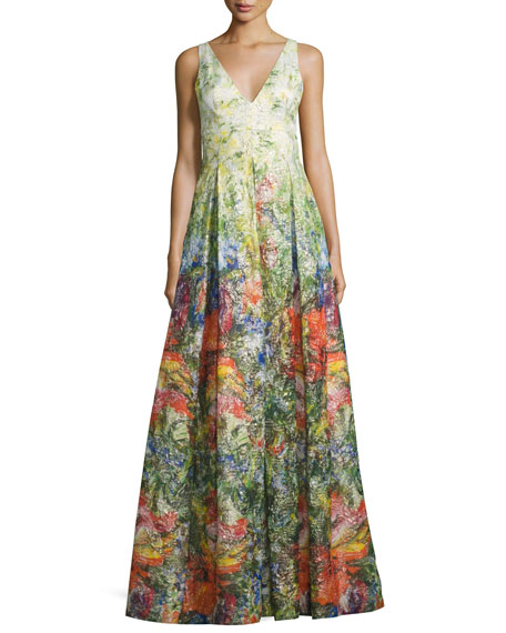 Chantal Sleeveless Pleated Floral Jacquard Gown, Multicolor