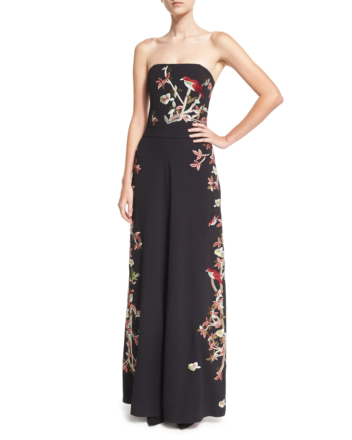 38cd8044855 Alice + Olivia Raven Strapless Embroidered Wide-Leg Jumpsuit