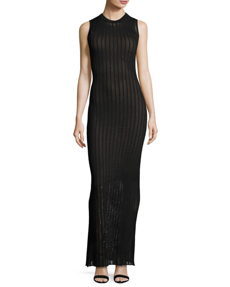 A L C Daphne Sleeveless Striped Crochet Maxi Dress Black