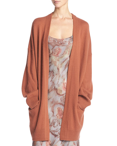 Vince Cashmere Open-Front Cardigan, Fig (Orange)