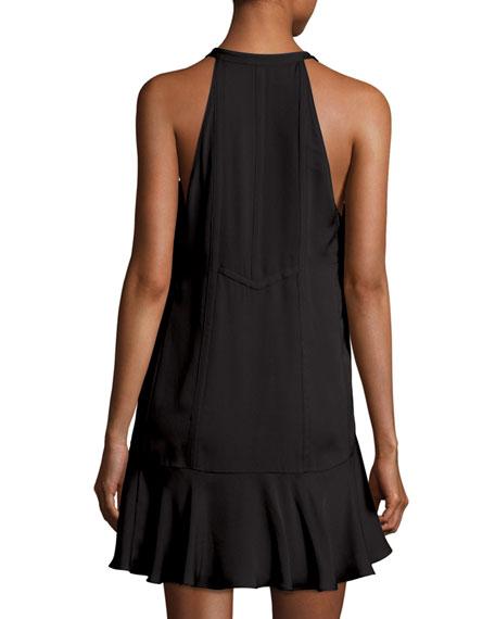 Hadley Sleeveless Silk Crepe de Chine Mini Dress, Black