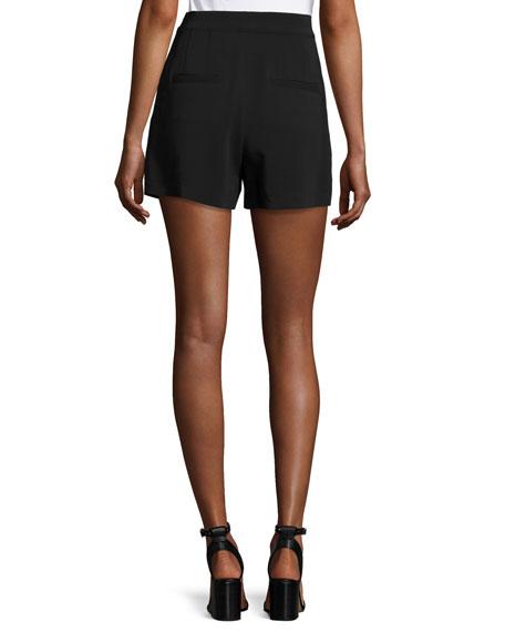 Joan High-Rise Stretch Crepe Shorts, Black