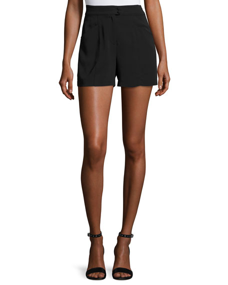 A.L.C. Joan High-Rise Stretch Crepe Shorts, Black
