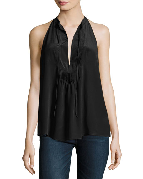 A.L.C. Levi Sleeveless Silk Satin Top, Black