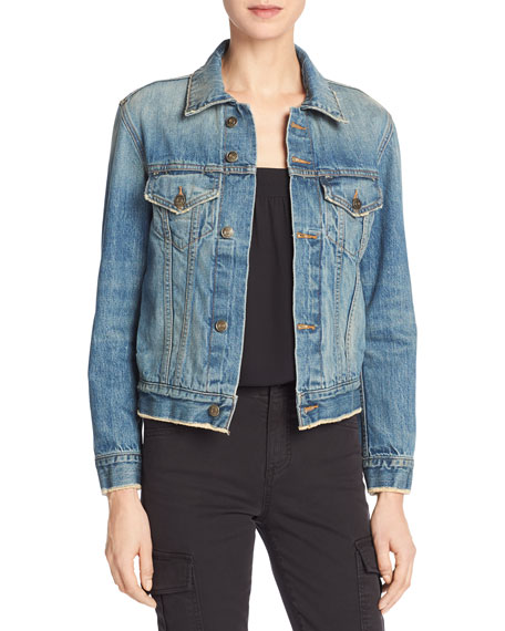 Vince Cropped Denim Jacket, Mid Blue Wash