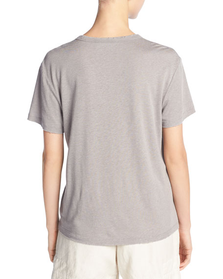 Distressed Tencel®/Linen Crewneck Tee