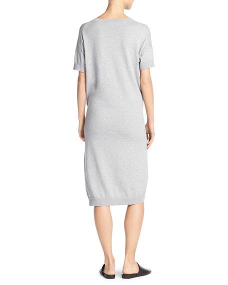 Vince Short Sleeve Tie-Waist Sweater Dress, Gray