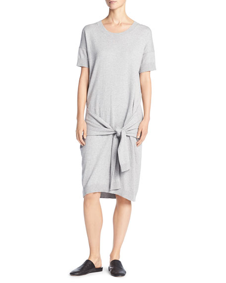 Short Sleeve Tie-Waist Sweater Dress, Gray