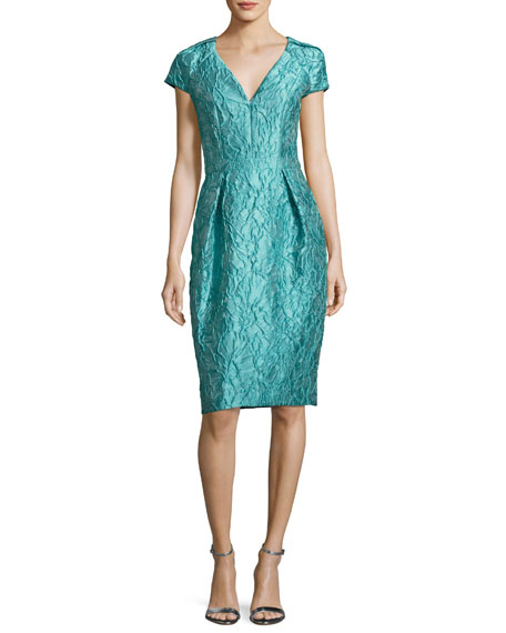 Carmen Marc Valvo Cap-Sleeve Jacquard Cocktail Dress, Jade