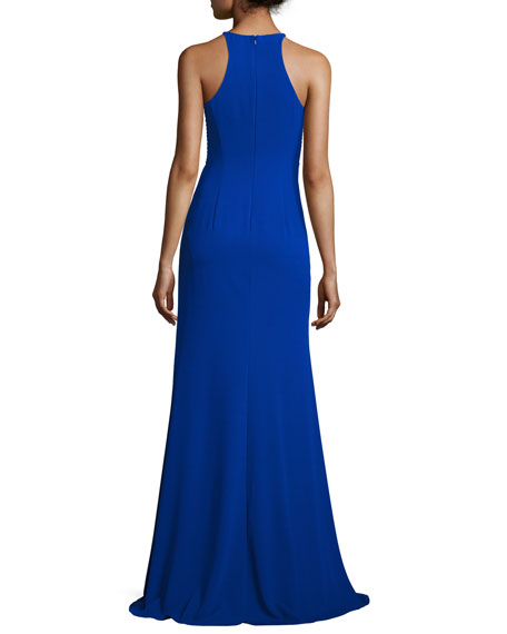 Sleeveless Laced Stretch Crepe Gown, Royal
