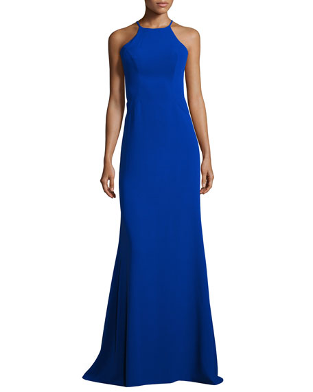 Faviana Sleeveless Laced Stretch Crepe Gown, Royal