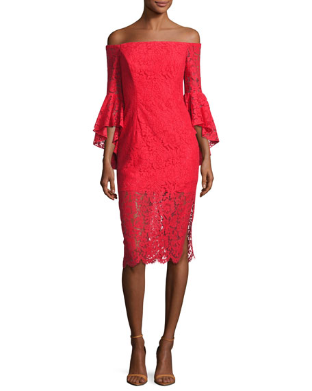 Selena Off-the-Shoulder Lace Cocktail Dress, Red
